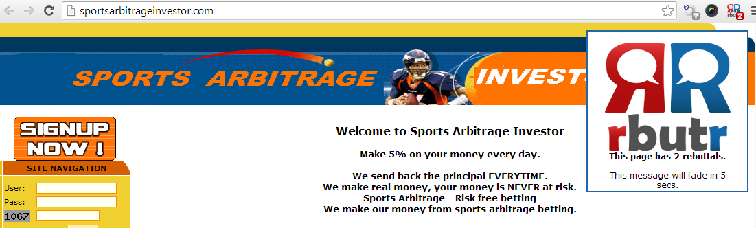 Sports Arbitrage Investment Scam Rebuttal warning with rbutr avoid scams